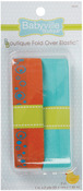 "Babyville Boutique Fold - Over Elastic 1""X4yd - Orange W/Circles & Solid Turquoi"