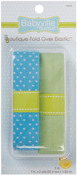 "Blue W/Dots & Solid Green - Babyville Boutique Fold-Over Elastic 1""X4yd"