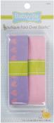 "Lavender W/Hearts & Solid Pink - Babyville Boutique Fold-Over Elastic 1""X4yd"
