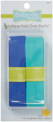 "Solid Blue & Solid Turquoise - Babyville Boutique Fold-Over Elastic 1""X4yd"