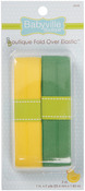 "Solid Yellow & Solid Green - Babyville Boutique Fold-Over Elastic 1""X4yd"