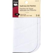 """White - Iron-On Twill Patches 5""""X5"""" 2/Pkg"""