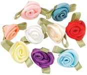 Assorted Colors - Ribbon Roses 40/Pkg
