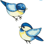 Blue Birds - Wrights Iron-On Appliques 2/Pkg