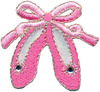 Pink Ballet Slippers - Wrights Iron-On Applique WRIGHTS-Iron-On Applique. Iron-On Appliques are the perfect decorative addition to a wearable garment or a craft project. They come in a variety of sizes and styles. Great for towels, blankets, pillows, purses, scrapbooks, backpacks, aprons, jackets, pants, t- shirts, costumes, baby clothes and so much more! This package contains one pink applique. Available in a variety of designs: each sold separately. Size and shape varies by design. Not for use on delicate fabrics. Imported.
