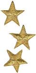 Gold Metallic Stars - Wrights Iron-On Appliques 3/Pkg