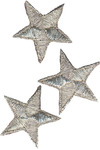 Silver Metallic Stars - Wrights Iron-On Appliques 3/Pkg
