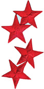 Red Stars - Wrights Iron-On Appliques 4/Pkg