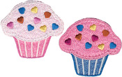 Cupcakes - Wrights Iron-On Appliques 2/Pkg