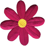 Fuchsia Retro Flower - Wrights Iron-On Applique