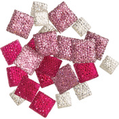 Square Pink - DIY Accessories Glitter Gemstones 24/Pkg