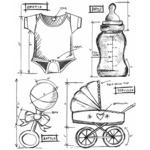 Baby Blueprint - Tim Holtz Cling Rubber Stamp Set