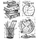 Schoolhouse Blueprint - Tim Holtz Cling Rubber Stamp Set