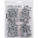 Robots Blueprint - Tim Holtz Cling Rubber Stamp Set