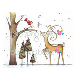 Reindeer With Birdie - Stamping Bella Cling Rubber Stamp