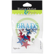 Stars - Red, White & Blue - Eyelet Outlet Shape Brads 12/Pkg