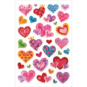 "Hearts - Laser Embossed Stickers 5.5""X8.25"" Sheet"