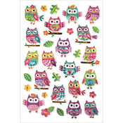 """Owls - Laser Embossed Stickers 5.5""""X8.25"""" Sheet"""