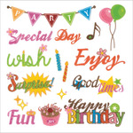 "Party Time - Glitter Themes Stickers 5.9""X6.1"" Sheet"