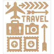 "Travel - Cork Elements Stickers 5""X6"" Sheet"