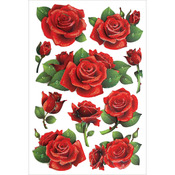 "Red Roses - Glitter Foil Stickers 5""X7.25"" Sheet"