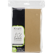 "Kraft - A2 Cards & Envelopes (4.25""X5.5"") 50/Pkg"