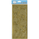 Gold - Christmas Ornaments Round Peel-Off Stickers