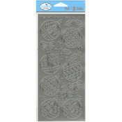 Silver - Christmas Ornaments Round Peel-Off Stickers