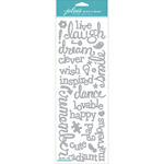 Laugh & Love Silver Glitter Words - Jolee's Boutique Stickers