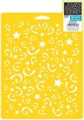 """Stars & Swirls - Stencil Mania Stencil 7""""X10"""""""