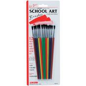 12/Pkg - Pony Hair School Art Brush Set