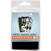 "Mixed Media & Collage - Black - Crescent Artist Trading Cards 2.5""X3.5"" 10/Pkg"