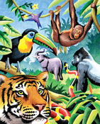 "Jungle Animals - Color Pencil By Number Kit 8.75""X11.75"""