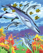 "Sea Animals - Color Pencil By Number Kit 8.75""X11.75"""