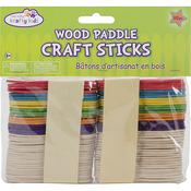 "Natural & Colored 3"" 80/Pkg - Craft Paddle Sticks"