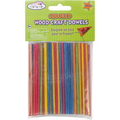 Colored Wood Craft Dowels - 100/Pkg