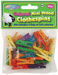 "Colored 1.1875"" 40/Pkg - Mini Wood Clothespins"