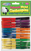 """Colored 1.875"""" 24/Pkg - Wood Clothespins"""