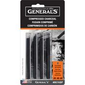 Black - 2B, 4B & 6B - Compressed Charcoal Sticks 4/Pkg