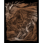 "Horse Trio - Copper Foil Engraving Art Kit 8""X10"""