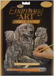 "Golden Retriever & Puppies - Gold Foil Engraving Art Kit 8""X10"""