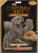 """Golden Retriever & Puppies - Gold Foil Engraving Art Kit 8""""X10"""""""
