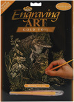 "Fox & Cubs - Gold Foil Engraving Art Kit 8""X10"""