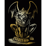"Lion Gargoyle - Gold Foil Engraving Art Kit 8""X10"""