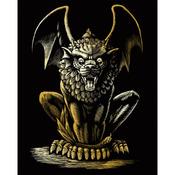 "Lion Gargoyle - Gold Foil Engraving Art Kit 8""X10"""