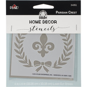 "Parisian Crest - FolkArt Home Decor Stencil 4""x4"""