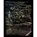 "Motorcycle Race - Holographic Foil Engraving Art Kit 8""X10"""