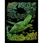 """Sea Turtle - Rainbow Foil Engraving Art Kit 8""""X10"""""""