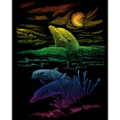 "Dolphin Reef - Rainbow Foil Engraving Art Kit 8""X10"""