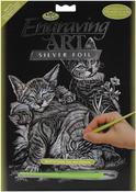 """Cat & Kittens - Silver Foil Engraving Art Kit 8""""X10"""""""